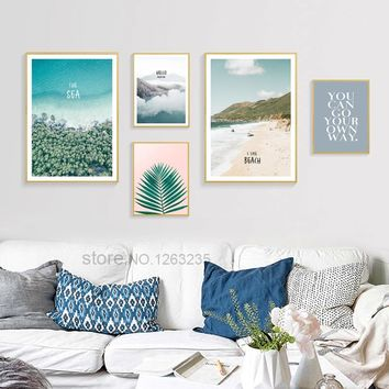 Sea Mountain Scenery Nordic Poster Leaf Cuadros Decoracion Beach Wall Pictures For Living Room Wall Art Canvas Painting Unframed