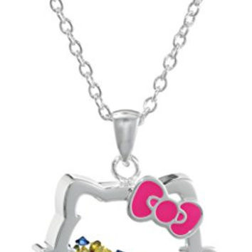 "Hello Kitty Sanrio Silver Plated Silhouette Shaker Pendant Necklace, 18"" + 2"" Extender"