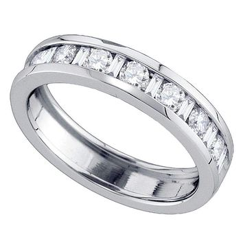 14kt White Gold Women's Alternating Round Baguette Diamond Single Row Wedding Band 1.00 Cttw - FREE Shipping (US/CAN)