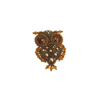 Owl (brooch) - seed bead jewelry - Japanese seed beads and crystals Swarovski brooch
