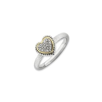 Sterling Silver, 14k Yellow Gold Plated & Diamond 9mm Heart Stack Ring