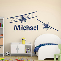 Boy Name Wall Decal- Personalized Name Decal Sticker Biplane Airplane Nursery Wall Decals Kids Boys Room Bedroom Wall Art Home Decor M058