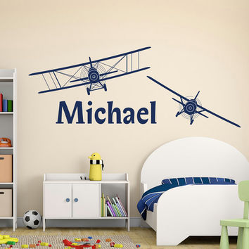 Boy Name Wall Decal  Personalized Name Decal Sticker Biplane Airplane Nursery  Wall Dec Part 64