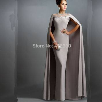 Light Grey Chiffon Long Mermaid Evening Dresses With Cape 2016 Long Formal Dresses abendkleider Mother of the Bride Dresses