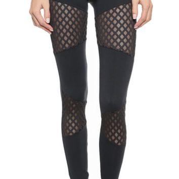 SOLOW Diamond Mesh Leggings