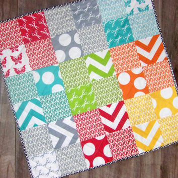 Modern Baby Quilt Playmat Bright Colors Designer by PlatoSquirrel