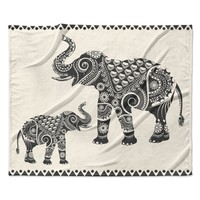 "Famenxt ""Ornate Indian Elephant-Boho"" Black Beige Fleece Throw Blanket"