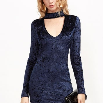 Navy Cutout Choker Velvet Bodycon Dress