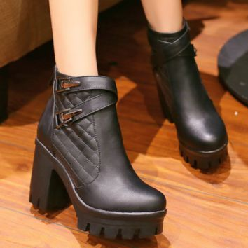 Square High Heel Ankle Boots | Motorcycle Ankle Boots