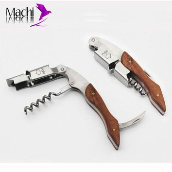 DCK9M2 #P01015# Rosewood Wood Handle Stainless Red Wine Corkscrew Double Hinge Waiters Wine Bottle Beer Cap Opener