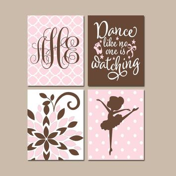 BALLERINA Wall Art, Pink Brown Baby Girl Nursery Decor, Dance Like No One Is Watching. Dancer Bedroom Wall Decor, CANVAS or Print, Set of 4
