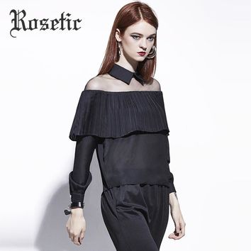 Black Hollow Chiffon Casual Ruffled Square Collar Blouse
