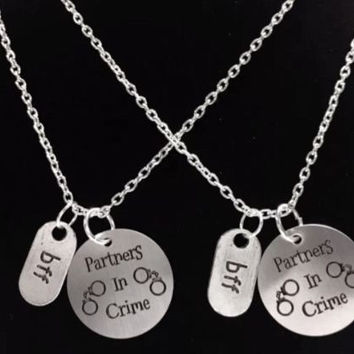 2 Necklaces Partners In Crime Handcuff Best Friends BFF Sisters Set