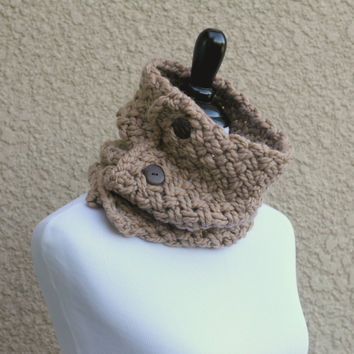 Chunky knit cowl in barley beige color, knit cowl
