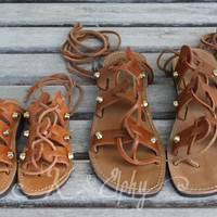 Gold Studded Mommy and Me Spartan Sandals - Greek Summer Leather Gladiator style Sandals