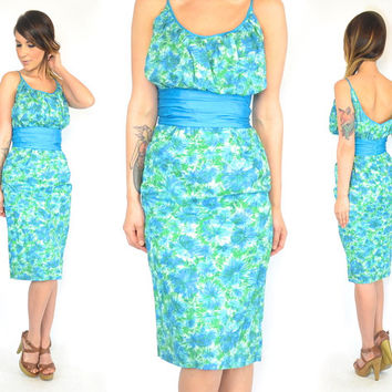 vintage 1960's floral HOURGLASS wiggle cocktail GARDEN PARTY rockabilly pin up dress, xxsmall-xsmall