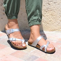 Cross Strap Silver  Footbed Sandals