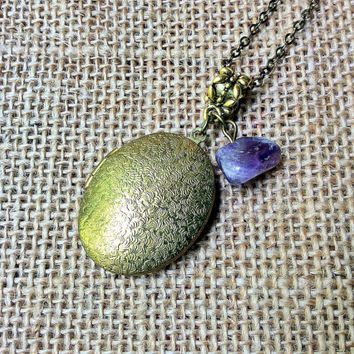 Oval Locket Necklace with Amethyst: textured oval keepsake locket with amethyst nugget bead