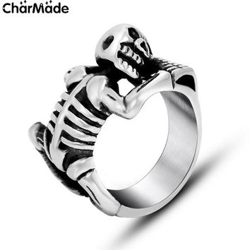 Mens Stainless Steel Climbing Skeleton Skull Ring Biker Jewelry Unique Punk Accessory Nice Gift Size 7-12 CharMade R477