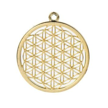 DCCKHY9 Zinc Based Alloy Flower Of Life Pendants Round Gold Plated/Silver Tone Hollow Carved 44mm(1 6/8') x 40mm(1 5/8'), 3 PCs