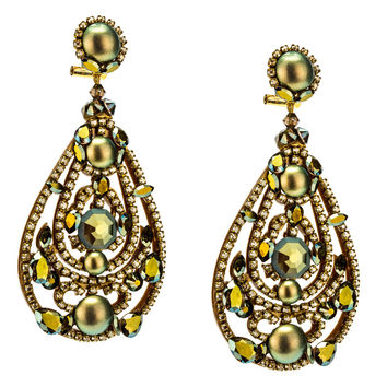 Golden Green Drop Earrings by DUBLOS