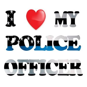 I Love My Police Officer Thin Blue Line Background Image Large Wall Decals