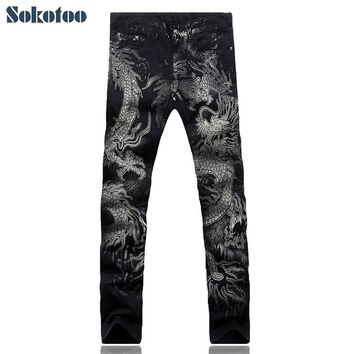 Sokotoo Men's fashion dragon print jeans Male colored drawing painted slim denim pants Elastic black long trousers Free shipping