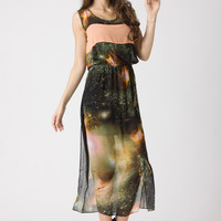 Galaxy Print Chiffon Dress  - Dress - Retro, Indie and Unique Fashion
