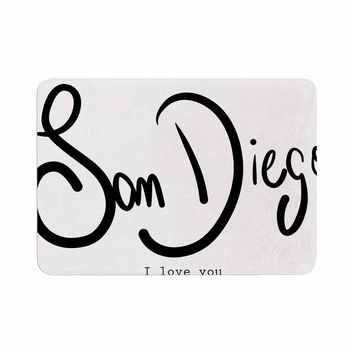 "Gabriela Fuente ""San Diego I Love You"" Travel Typography Memory Foam Bath Mat"