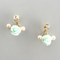 Mint Rose & Pearl Earrings