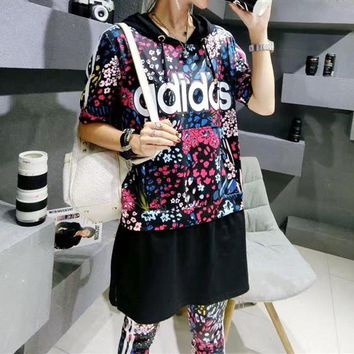"""Adidas"" Women Casual Letter Multicolor Floral Print Hooded Short Sleeve Leggings Trousers Set Two-Piece Sportswear"