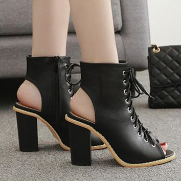 Roman Style Peep Toe Cut Out Lace Up Chunky High Heels Sandals