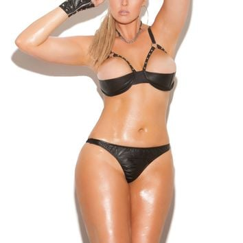 Plus Size Leather Demi Bra With Underwire Cups (3X,Black)