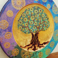 Tree of life art Wall art Wooden decorative plate Bohemian decor
