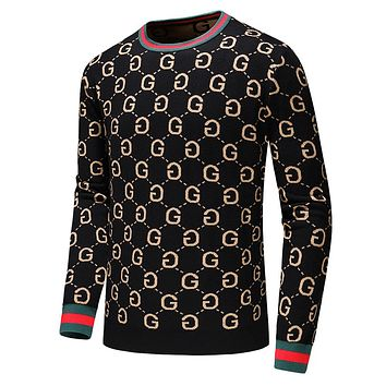 GUCCI Classic Popular Men Women Warm Long Sleeve Knit Sweater Sweatshirt Black