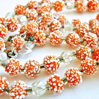 Orange Necklace Sugar Bead Speckled Japan Multi 2-Strand Vintage