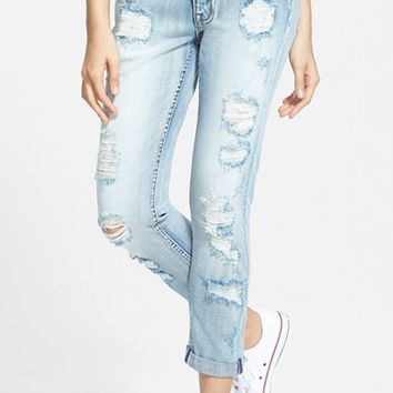 Junior Women's Vigoss 'Thompson Tomboy' Destroyed Skinny Jeans (Light Wash)