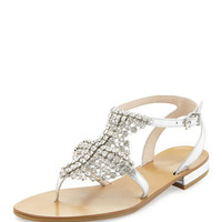 Billie Chain-Mail T-Strap Gladiator Sandal, Silver