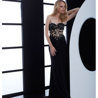 Black Lace Applique Illusion Strapless Dress