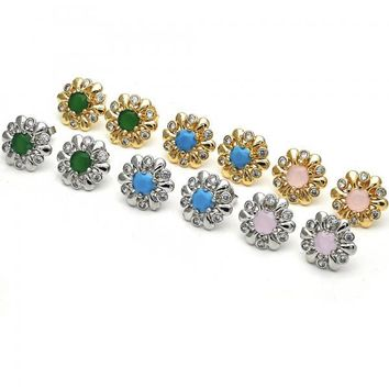 Gold Layered Stud Earring, Flower Design, with Opal and Cubic Zirconia, Golden Tone