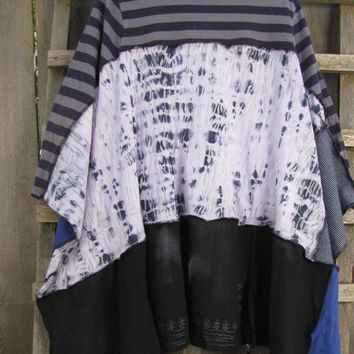 Funky Romantic Upcycled Jersey Knit Hippie Poncho Cape Cover Up/Eco Sweater Shawl Tie Dye Blue White Gray Cape One Size