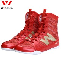 Wesing Professional Boxing Training Shoes for Athletes Anti-slip High Ankle Shoes Boxing Equipment Fitness Shoes Men Footwears