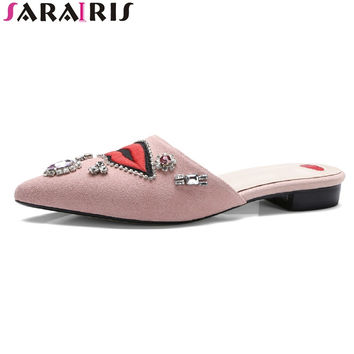 SARAIRIS red lip pattern 2017 summer cow leather mules rhinestone pointed toe women shoes with low square heel size 34-42