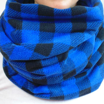 Buffalo Plaid Infinity Scarf, Blue Fleece Scarf, Tartan Scarf, Chunky Scarf, Winter Scarf, Back to School, Womens Scarf, Circle Scarf, Gift