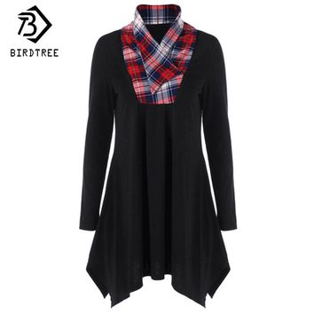 Women Plaid Sweatshirts Black Scarf Collar Loose Casual Pullovers Cotton