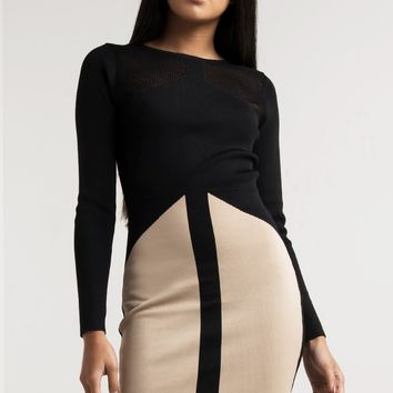 AKIRA Black Label Long Sleeve Mesh Knit Bodycon Sweater Dress in Beige