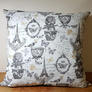 French Inspired Pillow Cover with Insert White Black Gold Birds Butterflies Teacups Roses Eiffel Tower Script Writing 16 x 16 Inches