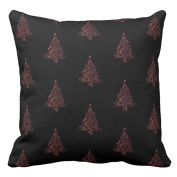 Merry Christmas Tree Pattern Black Metallic Red Throw Pillow