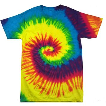 Tie Dye Shirt Multi Color Reactive Rainbow Spiral Kids T-Shirt