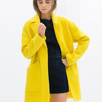 Yellow Big Side Pocket Long Sleeve Woolen Coat